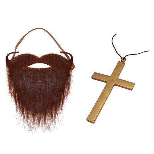 (Robelli Jesus Kostüm Zubehör (brauner Bart und Kruzifix))