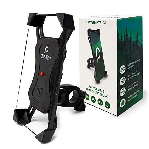 PRIMEMION Selbstschließende Handyhalterung für Fahrrad & Motorrad I Universal 360° Smartphone Halterung Fahrrad I Sichere Motorrad & Fahrrad Handyhalterung I Handyhalter für alle Handys bis 7 Zoll