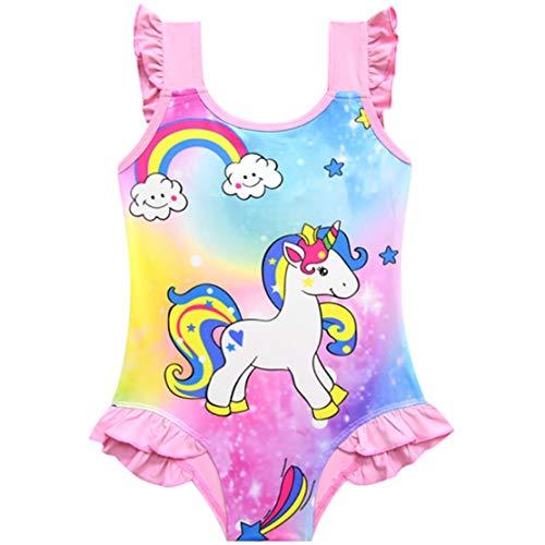 Traje de Baño Unicornio Bañador Niña de Una Pieza Bañador de Natación Vacaciones Playa 3-10Años