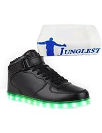 (Present:kleines Handtuch)High Top mit Velcro Rot EU 38, Schuhe Top Sport 7 LED Turnschuhe Damen 43 Leuchtend JUNGLEST® Sportschuhe für Sneaker Herren Größe Lackleder Weiß High Farbe