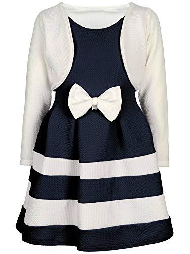 d Kinder-Kleider Spitze Winter-Kleid Fest-Kleid Lang-Arm Kostüm 30003 Weiß-Navy 98 ()