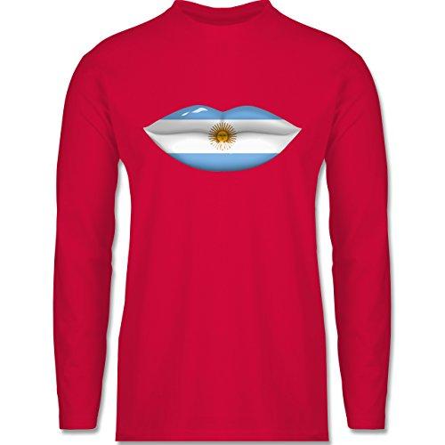Shirtracer Länder - Lippen Bodypaint Argentinien - Herren Langarmshirt Rot
