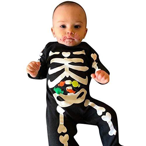 Baby Body Strampler Jungen Mädchen Neugeborenen Langarm Schädel Drucken Strampler Overall Säugling Spielanzug Baby-Nachtwäsche Halloween Kostüm von Innerternet