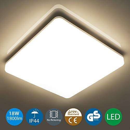 Oeegoo Lampara de Techo 18W, IP44 resistente al agua,1800LM LED ...