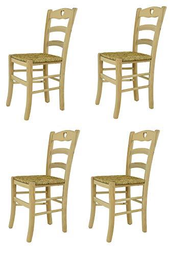 Tommychairs Set 4 sedie Classiche Cuore per Cucina Bar e Sala da Pranzo, Robusta Struttura in Legno di faggio Levigato, Non trattato, 100% Naturale