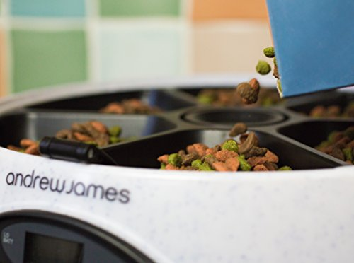 Andrew James – Programmierbarer Automatischer Futterautomat / Futterspender für Haustiere – 6 Tage / Mahlzeiten – In Granit – Mit Sprachaufnahme-Funktion – 2 Jahre Garantie - 6
