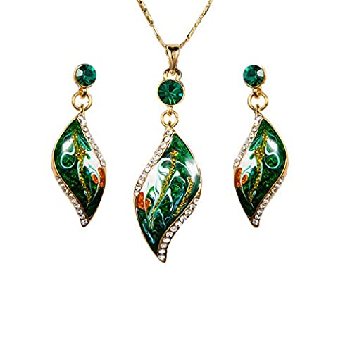 18ct Gold Plated Swarovski Elements Green Crystal Necklace Earring Jewellery