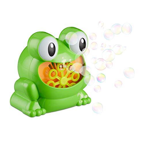 Relaxdays- Máquina Burbujas Rana para Cumpleaños Infantil, Plástico, Verde, 13 x 10 cm, Color (10024940)