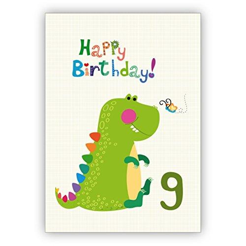 Klappkarten Set (4Stk) Toller Kinder Glückwunsch als Geburtstagskarte zum 9. Geburtstag mit Dino und Schmetterling: Happy Birthday