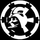 SUPERSTICKI® CCI156 - Darth Vader Over Empire Logo White Vinyl Car/Laptop/Window/Wall Aufkleber Decal Hintergrund/Maße in inch   5.5 x 5.5