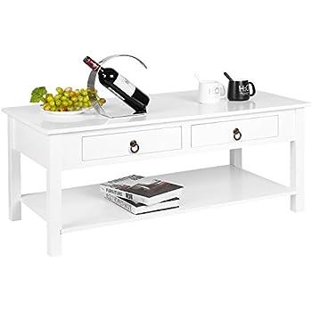 Homfa Tiroirs Blanc De Salon Table Basse 11053 Laqué En 45 5cm Simple Avec Deux Mdf 534LqRcjA