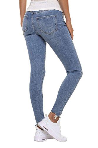 Vero Moda Damen Skinny Jeans Stretch Denim Casual Used Look Medium Blue Denim