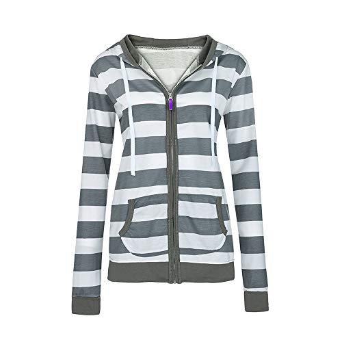 Damen Hoodie stylischer Herbst Winter Jacke Gestreift Kapuzenpullover Female Zipped Jacket Langarmshirt Sweatshirt Strickjacke Locker Mode Pulli Pullovervon Innerternet