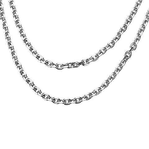HOUSWEETY Collier Acier Inoxyable Chaine Croix 55*2.8mm Homme Femme