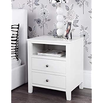 Edward Hopper White Bedside Table With 3 Drawers Metal