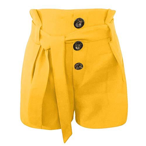 TEELONG Shorts Damen Mode Sexy Hohe Taille Slim Fit Freizeit Style Belted Strand Shorts Hosen Badeshorts Chinoshorts Cargoshorts Jeansshorts Sweatshorts Hosen(S, Gelb) Belted Jersey-shorts