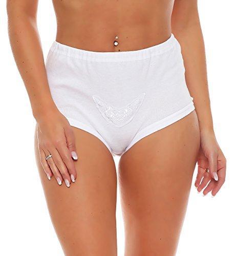 3er Pack Damen Taillen-Slips ohne Seitennähte mit Baumwollspitze (Schlüpfer, Slip, Unterhose) Nr. 405  Weiß