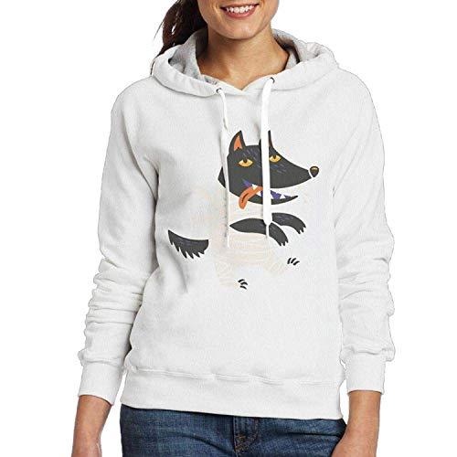 CAP PILLOW HOME Leichte Neuheit Hoodie Jacke Wolf Halloween Kostüm Retro Sweatshirt für Frauen