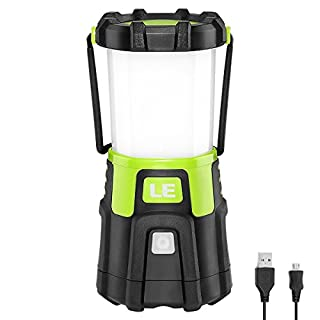 LE Lighting EVER Lanterne LED Rechargeable, 1200lm Dimmable 4 Modes, Lampe Torche pour Eclairage Extéieur, Camping, Bivouac, Maison, Bricolage, avec Câble USB