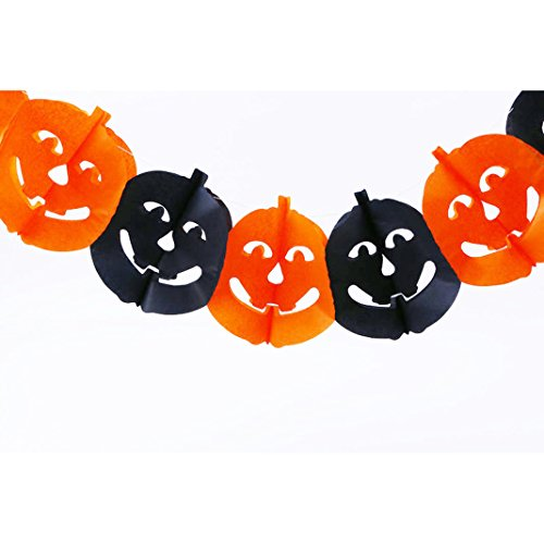 Moon mood® Halloween Zucca Scene di layout Decorazione Banner Props Scene Layout Decoration Props Banner Color bar 3 Meters Long Garland For Party Light Luce del Partito-Pumpkin
