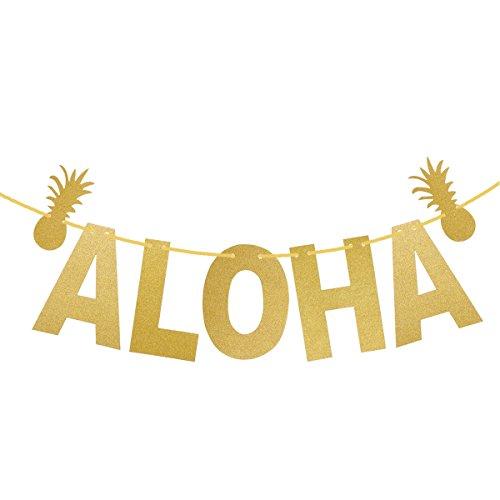 f Banner Hawaiian Luau Garland Ribbon Banner Glitter Pulver Garland für tropische Sommer Pool Party Dekorationen Lieferungen ()