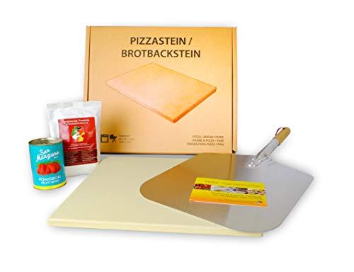 """Pizzastein Geschenkset \""""Neapolitana\"""" inkl. Metallschaufel, Pizzamehl und San Marzano Tomaten"""