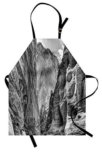 Zion National Park Schürze, dramatische Fernweh Abenteuer themenorientierte Foto von Rocky Canyon, Unisex-Küche Latzschürze mit verstellbarem Hals zum Kochen Backen Gartenarbeit, Dunkelgrau und ()