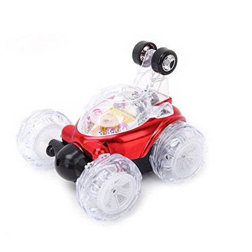 New Children's Toy RC Cars With led Light And Music Dump Stunt Car Remote Controll Electric Car Special Toys For Children Gift (Red)