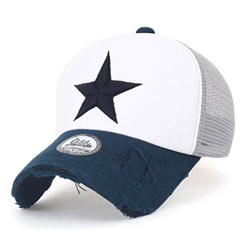 ililily Stern Stickerei schwarz Weiss Trucker Cap Hut Verstellbarer Baumwolle Baseball Cap (Medium, White/Navy) -