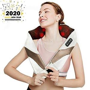 Aront Nackenmassagegerät Shiatsu Massagegerät für Nacken Schulter Rücken Elektrisch Massagekissen mit Wärmefunktion 3D-Rotation Massage für Zuhause Büro Auto Neuen Jahrs Geschenk