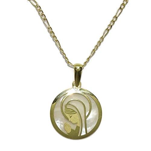 medalla de oro amarillo de 18Ktes con nácar de 17mm de diámetro y cadena 3x1 de oro amarillo de 18Ktes de 45cm con cierre reasa.