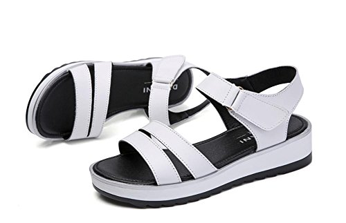 pengweiSandales ladies flat summer wild simple anti-skid casual shoes White