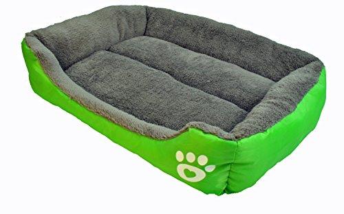 Hundebett Tierbett Schlafplatz Hundekorb Hundesofa Hundedecke Hundekissen Katzenbett Katzenkorb Größe: ca. 68 x 55 x 16 cm (PB001) (grau / grün)