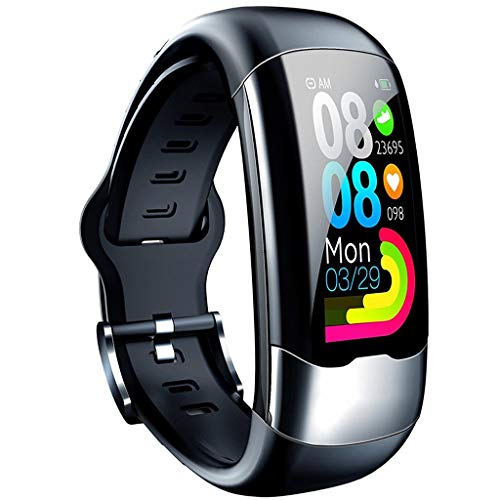 Chic Gadget Neu Smart Armband ECG+HRV+PPG Monitor Sport Watch Fitness Aktivitätstracker Schlafen Blutsauerstoff Pulsmesser Armbanduhr Wasserdicht Armband H02 (Black) -
