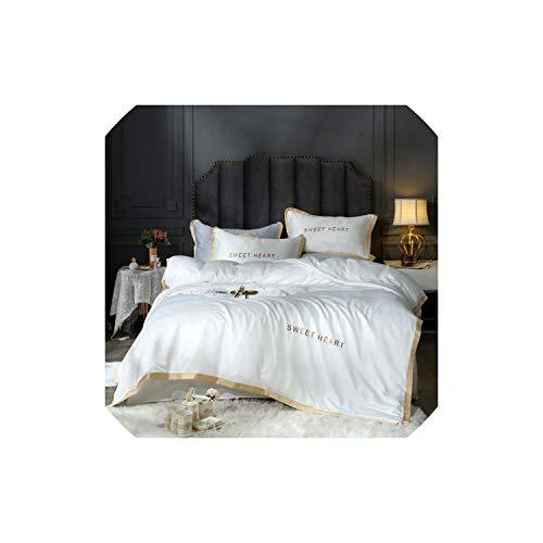 Black-Sky Home Textile Bettwäsche-Sets Adult Bettwäsche Bett Weiß Schwarz Bettbezug König Queen Size Bettbezug Kurz Bettwäsche Tröster, Weiß, Königin cover200by230, Flachbettlaken