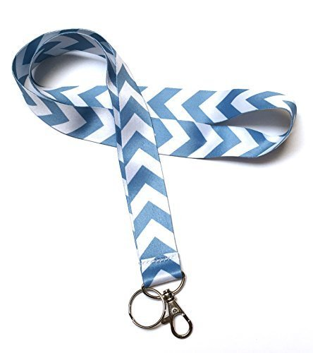 WigsPedia Chevron Neck LANYARDs Keychain for Key / ID Holder (Navy Dark Blue / White Chevron) ... (Light Blue / White Chevron) by Wigspedia (Light Blue Chevron)