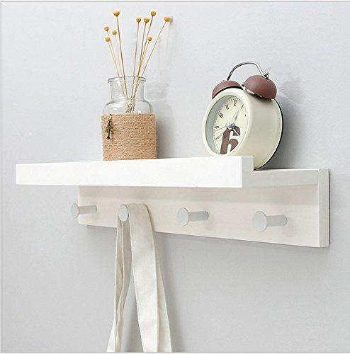 Margueras - 1 estante toallero perchero de pared (bambú con estante y ganchos), blanco, 4K
