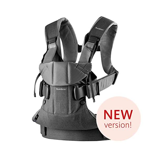 BABYBJÖRN Baby Carrier One, Cotton Mix, Denim Grey/Dark Grey, 2018 Edition Baby Bjorn The latest version with ergonomic seat width and adjustable head support Soft and durable cotton fabric that is machine washable 4 carrying positions: new-born, baby facing-in, baby facing-out and back carrying 1