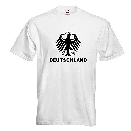 KIWISTAR - Deutschland Bundesadler T-Shirt in 15 verschiedenen Farben - Herren Funshirt bedruckt Design Sprüche Spruch Motive Oberteil Baumwolle Print Größe S M L XL XXL Weiß