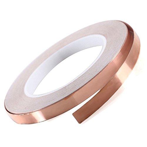 warkhome Copper Foil Tape conductiva con adhesivo (10mm x 25m)–EMI blindaje conductive Adhesive para circuitos de papel, diseño de vidriera, reparaciones eléctricas