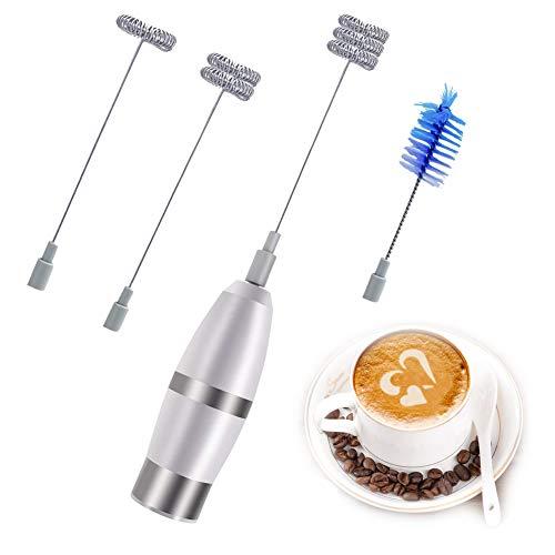 Espumador de Leche Electrico/Mini eléctrico batidor Mezclador Agitador/Cappuccino para Café, Whipped Creamer, Huevo con 2 Batidor 1 Cepillo