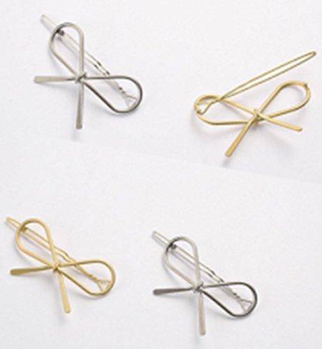 cineen 4Artikel Stilvolle Metall Fliege Haar Clips Schleife Haar-Accessoires Kopfschmuck Gold und Silber