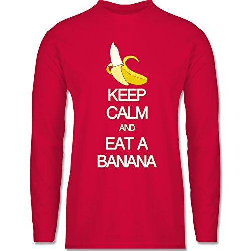 Keep calm - Keep calm and eat a banana - Longsleeve / langärmeliges T-Shirt für Herren Rot