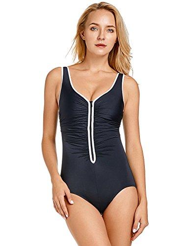 Delimira Damen Einteiler Badeanzug - Vorne Reißverschluss,Schale Slim Bademode Schwarz 44 (Damen Badeanzug Einteiler)