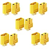 10 pcs XT60 Battery Connectors for RC Battery Toy Vehicle 5pcs Male connectors and 5pcs Female connectors