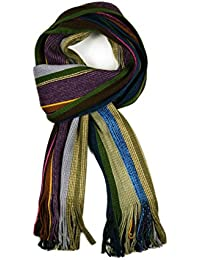 Unisex Striped Scarf Luxury Knitted Ribbed Scarves Aztec Warm Winter in Various Colours