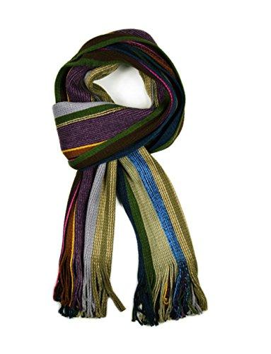 Écharpe à rayures en tricot pour écharpes côtelé en différentes couleurs Beige - Beige / Purple / Blue