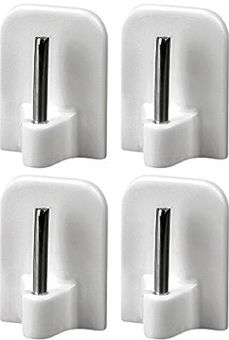 4 Stück Gardinenhaken selbstklebend, Klebehaken für Gardinenstangen, Aus Kunststoff mit Metallstift, Weiß, (24 Mm Haken)