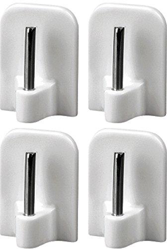 4 Stück Gardinenhaken selbstklebend, Klebehaken für Gardinenstangen, Aus Kunststoff mit Metallstift, Weiß, 16x24mm