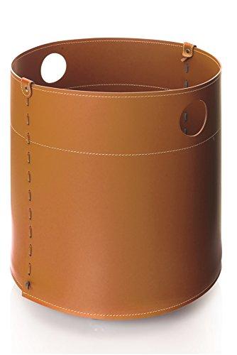 GIRO: Bolso, cesta para leña o pellets, en cuero color Marròn, equipado con 4 ruedas de goma.